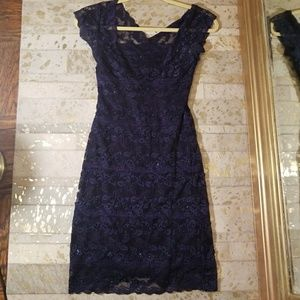 NWOT Onyx Nite Dark Lace Blue Dress